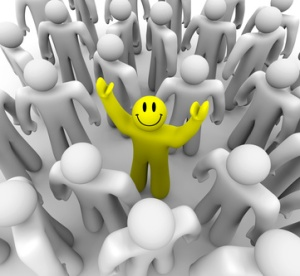 Picture taken from http://depositphotos.com/2075035/stock-photo-Smiley-Face-Person-Standing-Out-in-Crowd.html